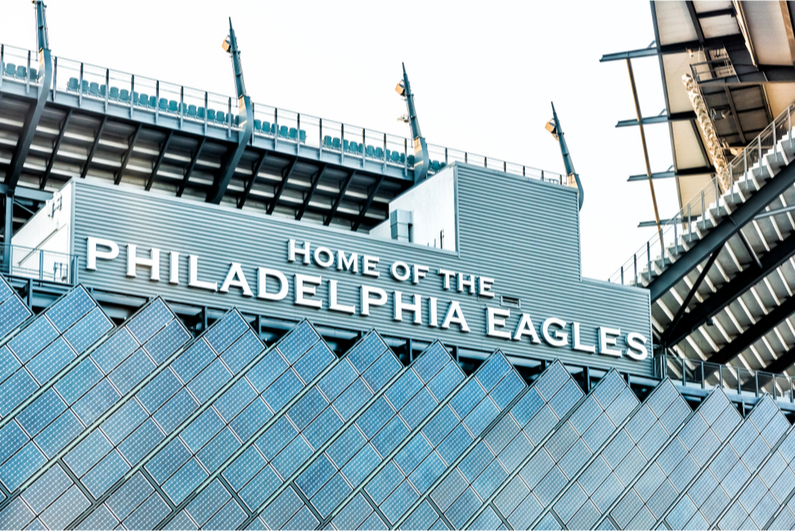 "Closeup of sign at Lincoln Financial Field that reads ""HOME OF THE PHILADELPHIA EAGLES"""