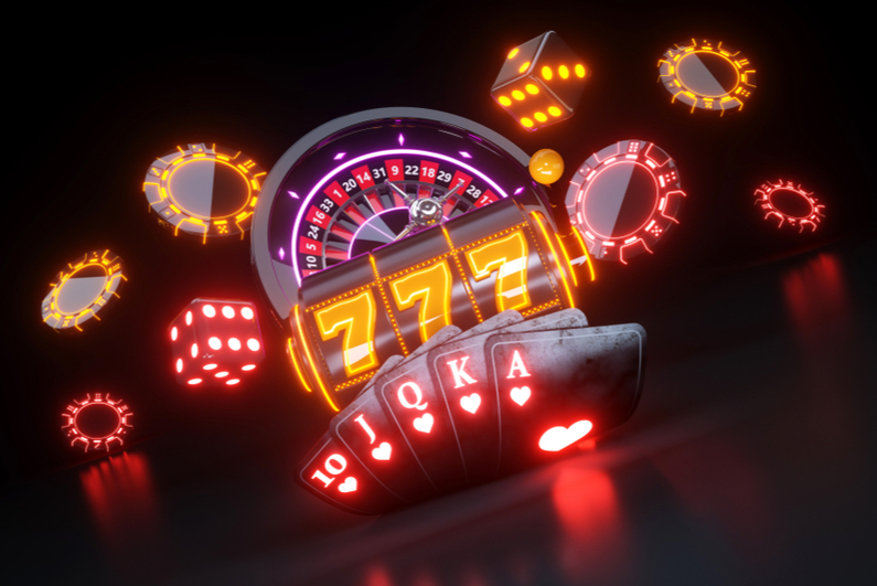 Casino dice, slots, roulette wheel, cards, and chips in neon coloring