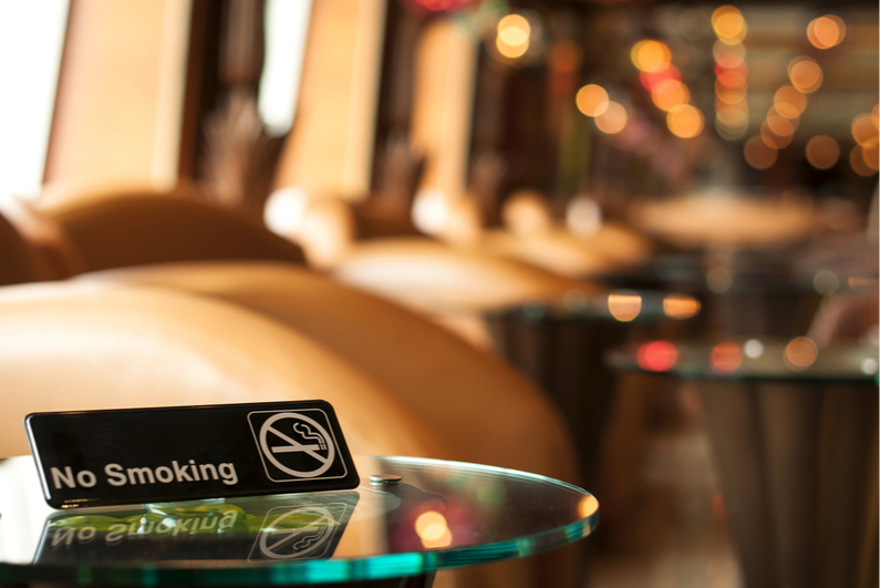 No smoking sign on glass table