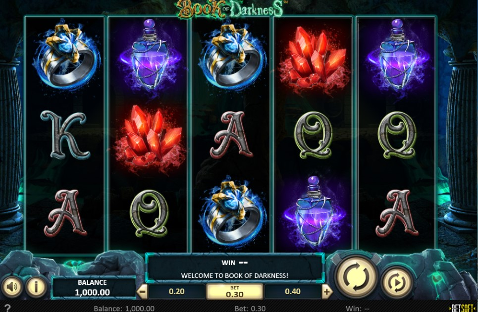 Book of Darkness slot reels by BetSoft