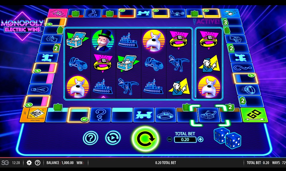 MONOPOLY Electric Wins slot reels by WMS