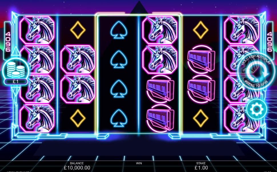 Neon Pyramid slot reels by Inspired Gaming