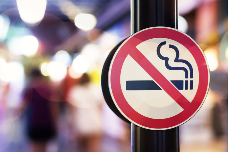 No Smoking sign attached to a pole