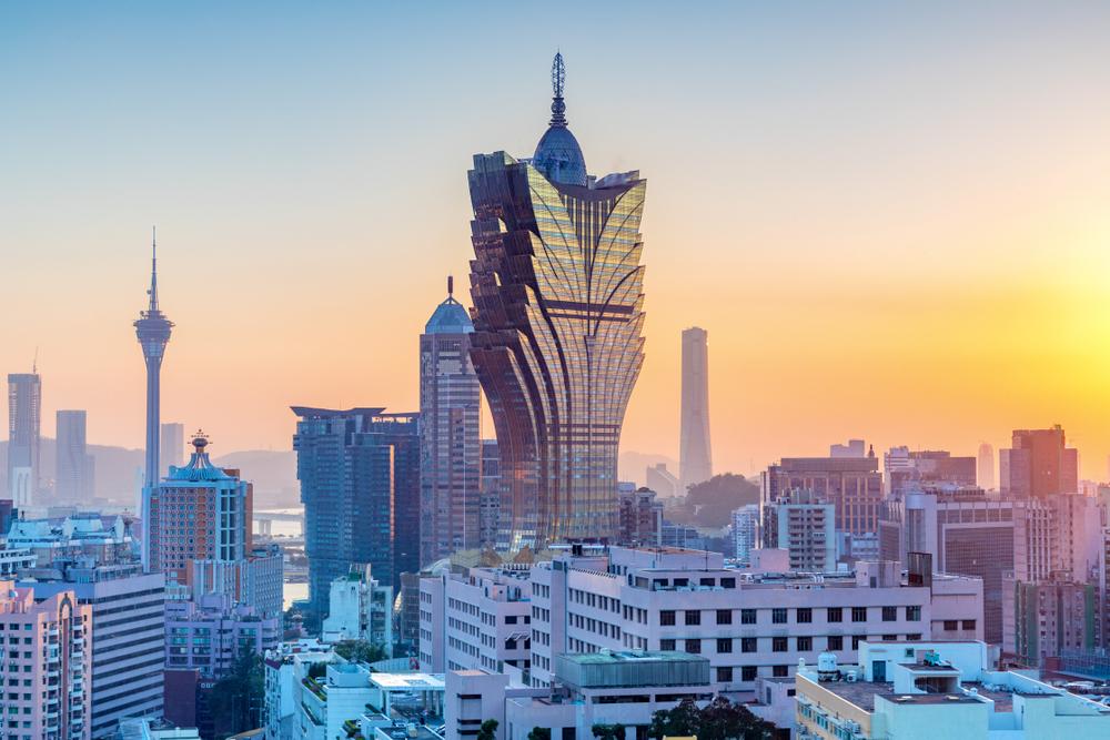 Macau cityscape at sunset