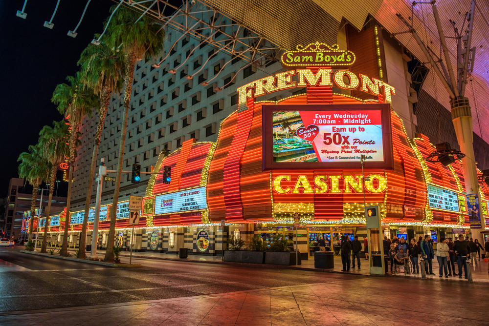 lit-up facade of Fremont Casino property in Las Vegas