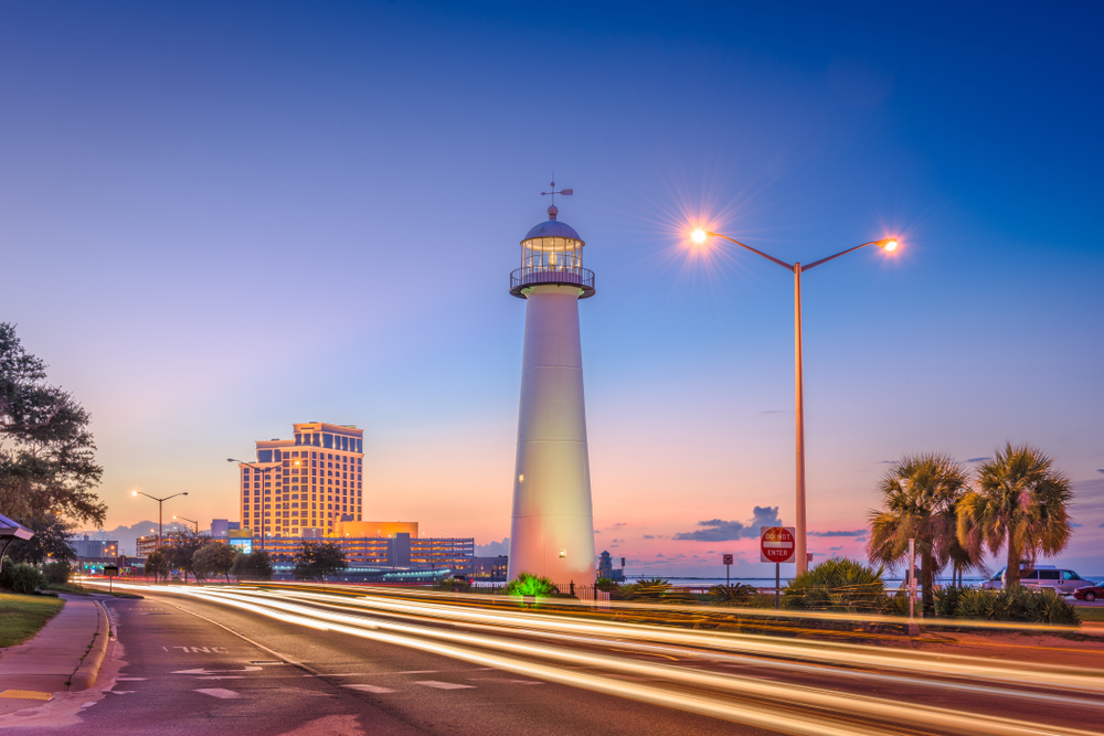 dusk shot of the Beau Rivage Casino and Lighthouse in Biloxi, Mississippi