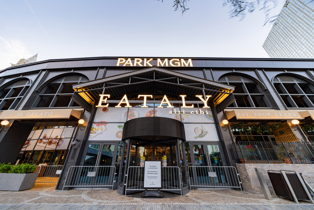 Park MGM entrance closed up with metal barriers