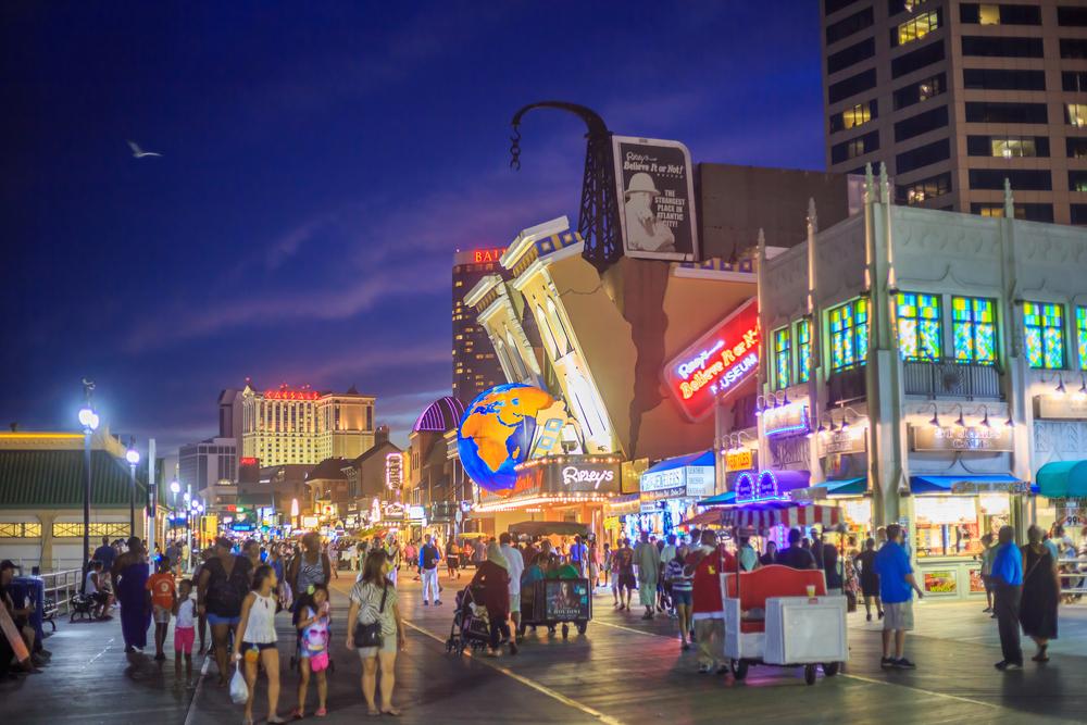 Atlantic City casinos at night