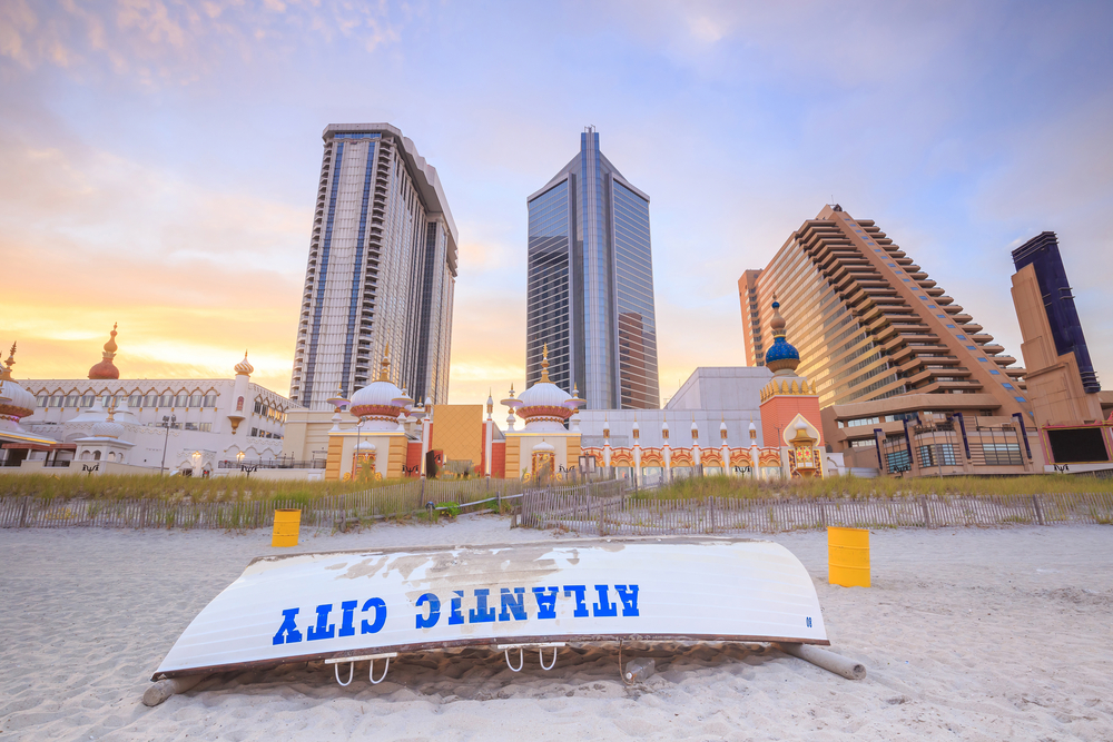 small upturned boat on beach in Atlantic City, New Jersey