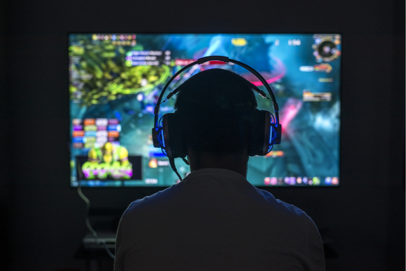 Young person playing video games