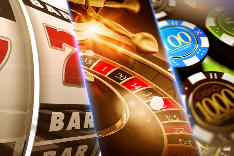 Illustration of different types of casino games and casino chips