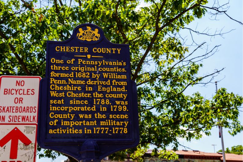 Chester County PA historical marker