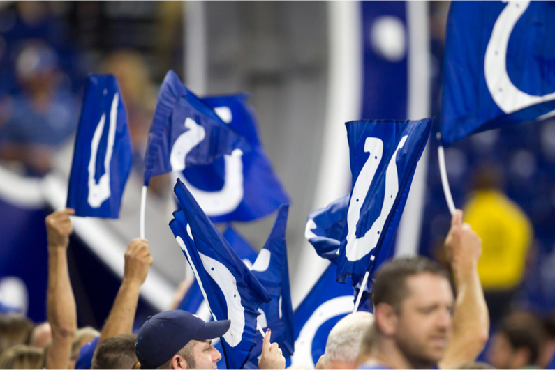 Fans waving Indianapolis Colts flags