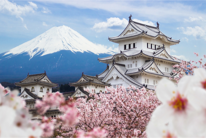 Japan's Himeji Castle with Mt. Fuji in the background
