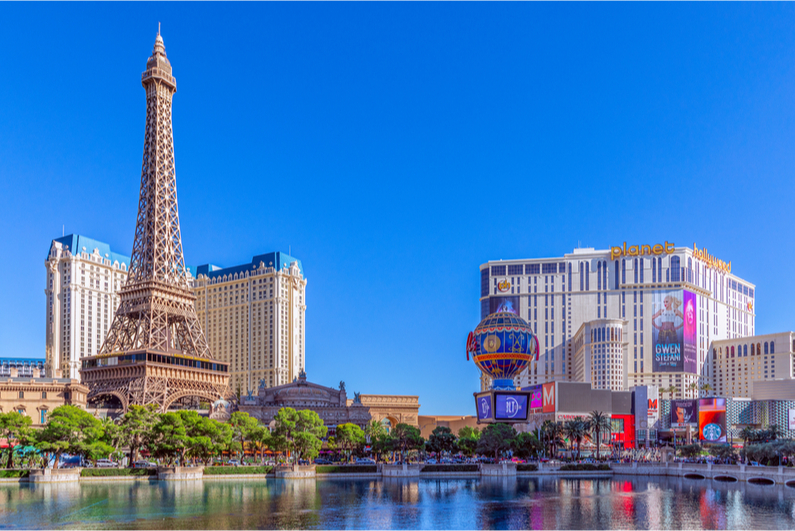View of Paris and Planet Hollywood casinos on the Las Vegas Strip
