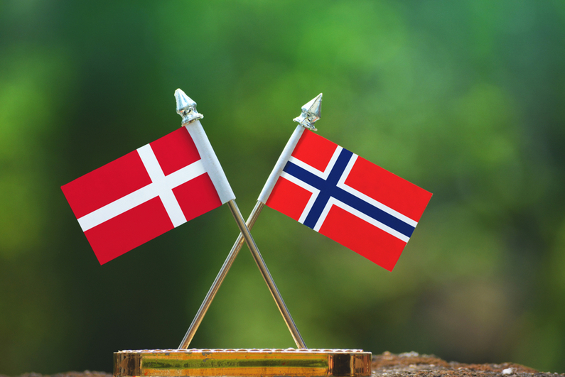 Norway and Denmark flags