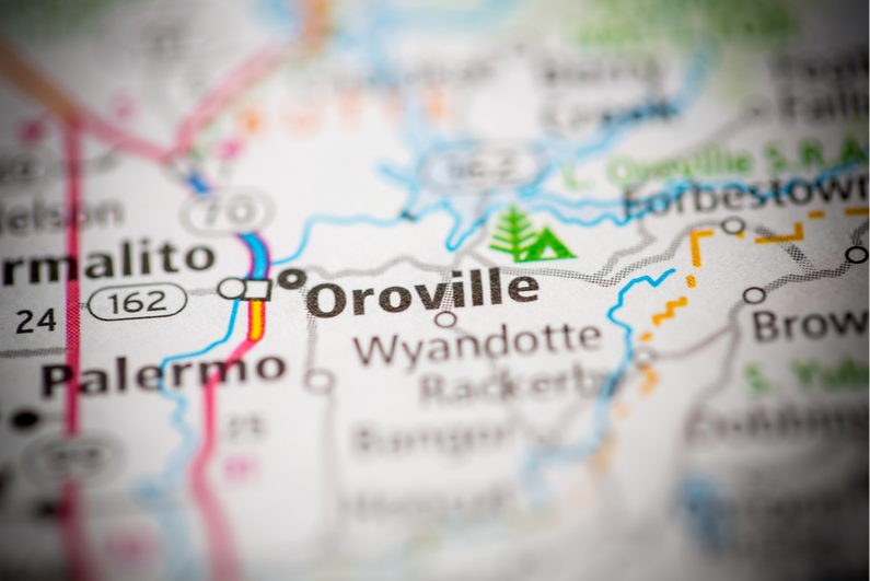 Closeup map of Oroville, California