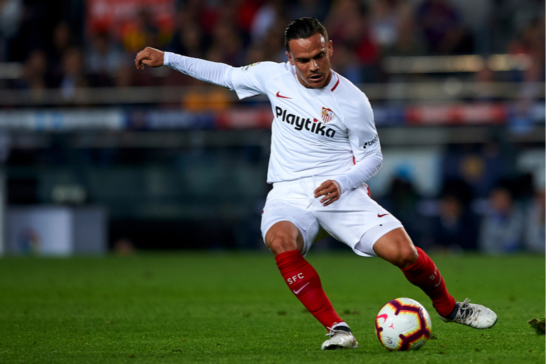 Roque Mesa of Sevilla FC mid-kick