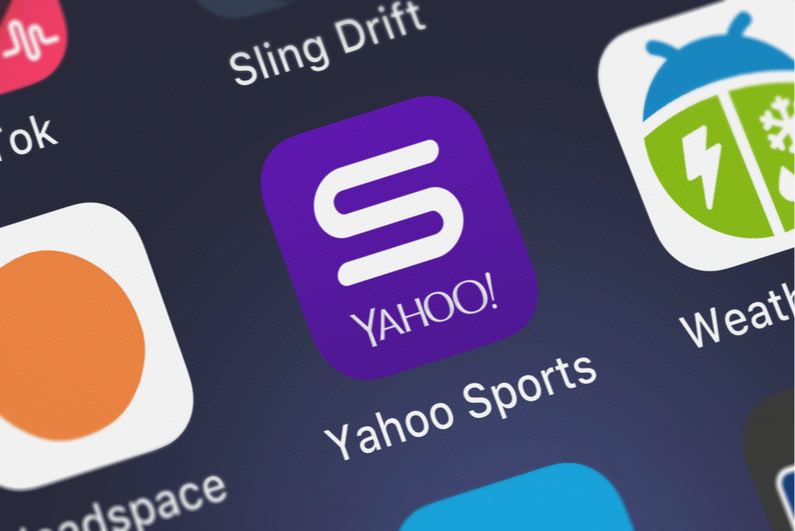 Yahoo Sports icon on a smartphone