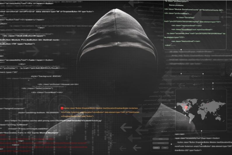 Mysterious, faceless hacker in a grey hoodie