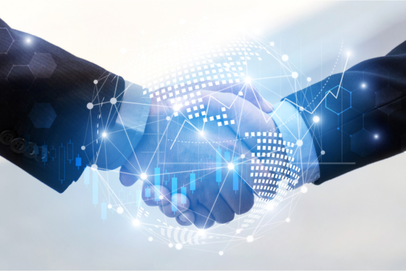 Closeup of handshake with floating, techie vector graphics
