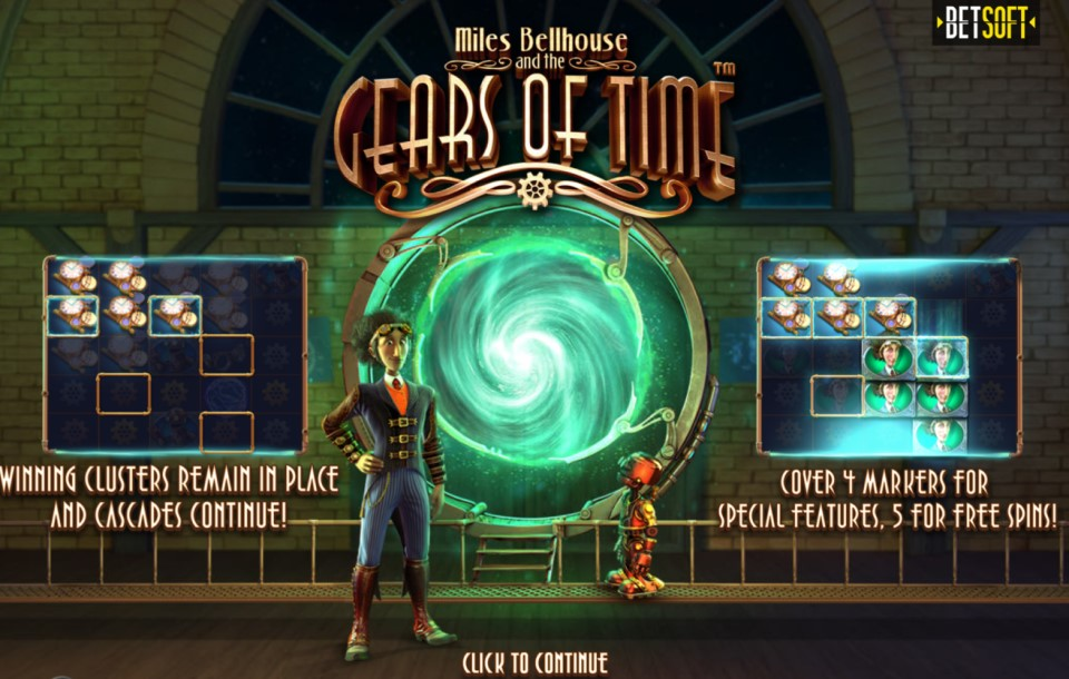 Miles Bellhouse and the Gears of Time slot title by Betsoft