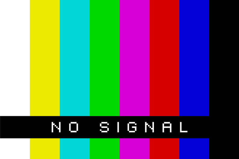"Old TV rainbow bars with the message ""no signal"""