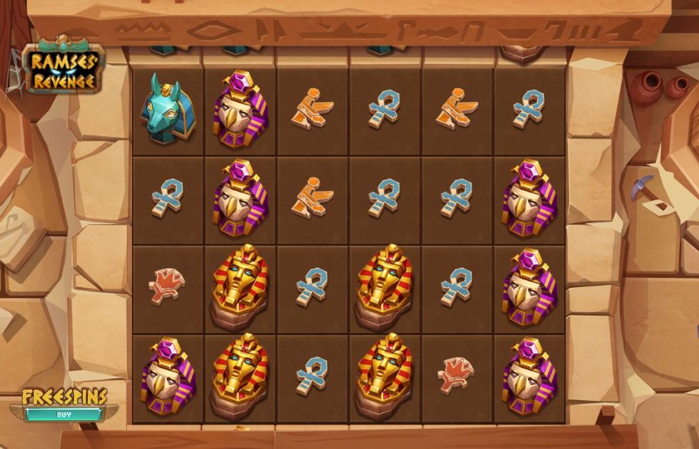 Ramses Revenge slot reels by Relax Gaming