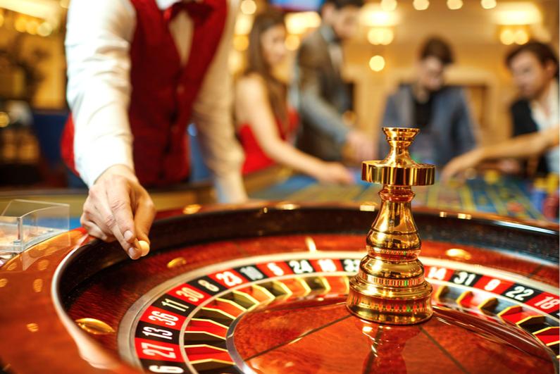 Casino roulette croupier