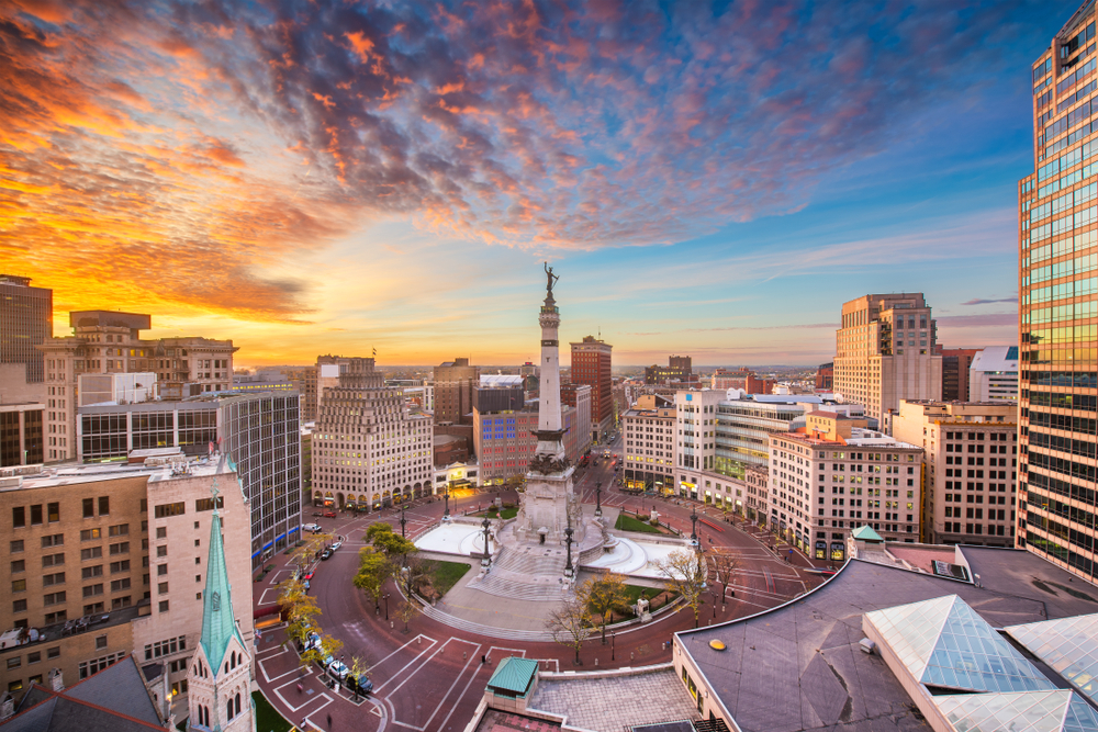 Skyline of Indianapolis in Indiana