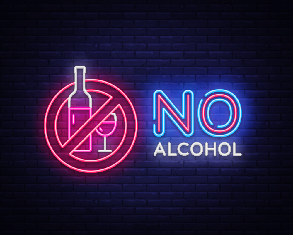Sign reads No Alcohol