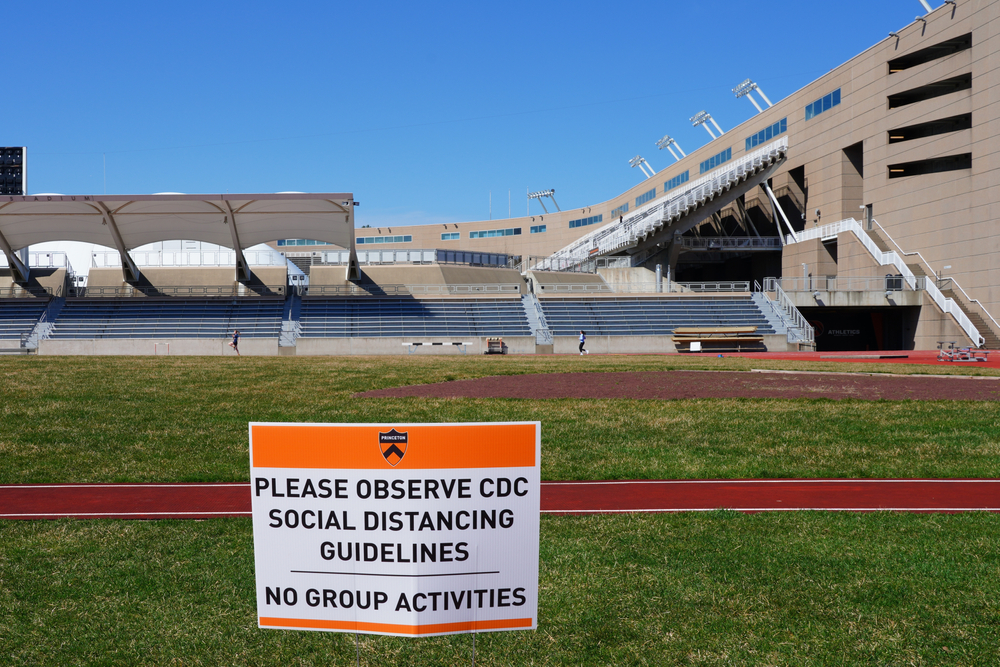 social distancing signs on the campus of Princeton University, New Jersey