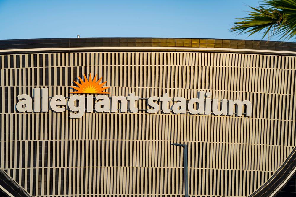 close-up of the Allegiant Stadium facade logo in Las Vegas