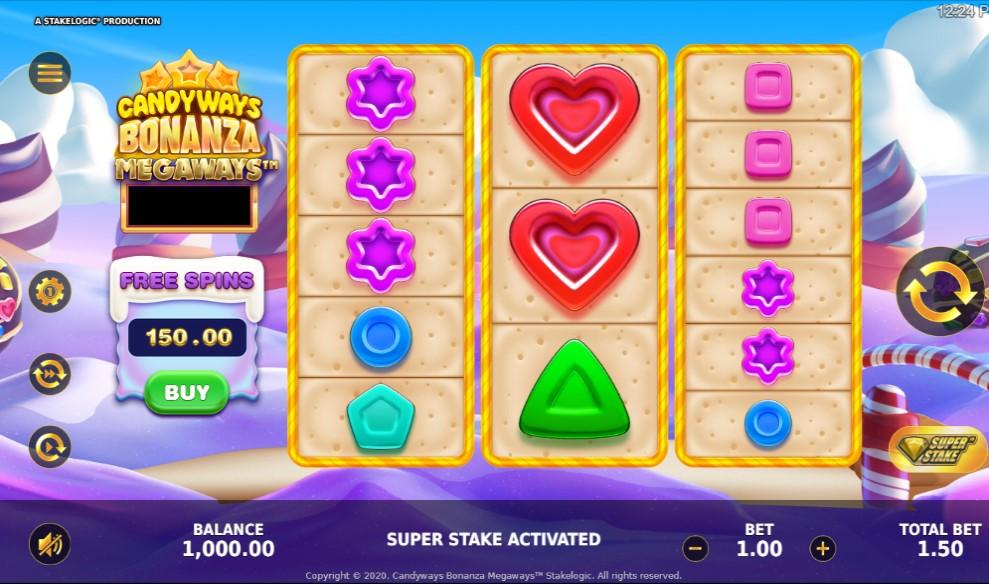 CandyWays Bonanza Megaways slot reels by StakeLogic