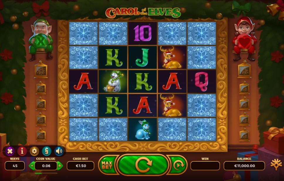 Carol of the Elves slot reels by Yggdrasil Gaming