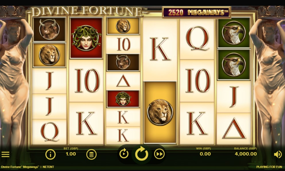 Divine Fortune Megaways slot reels by NetEnt