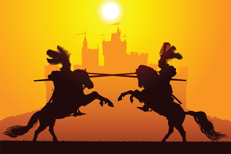 Two knights jousting in silhouette
