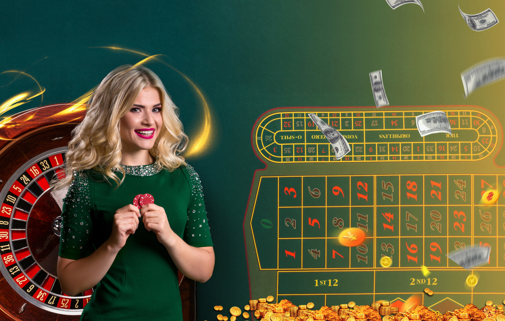 female live roulette dealer stands next to graphic representation of roulette wheel and table