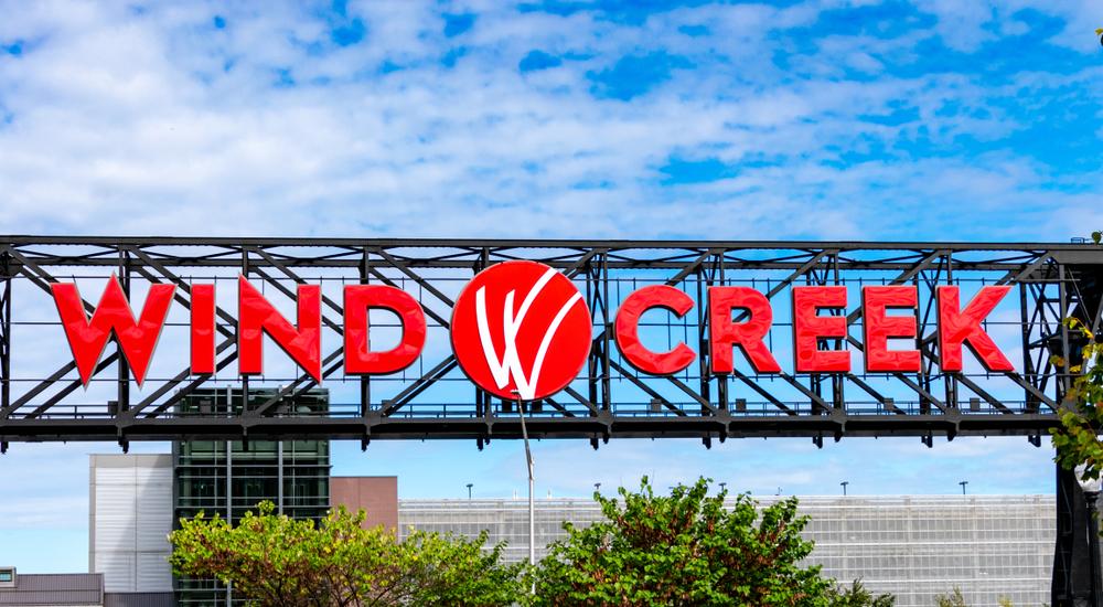 Wind Creek sign to Bethlehem hotel-casino property