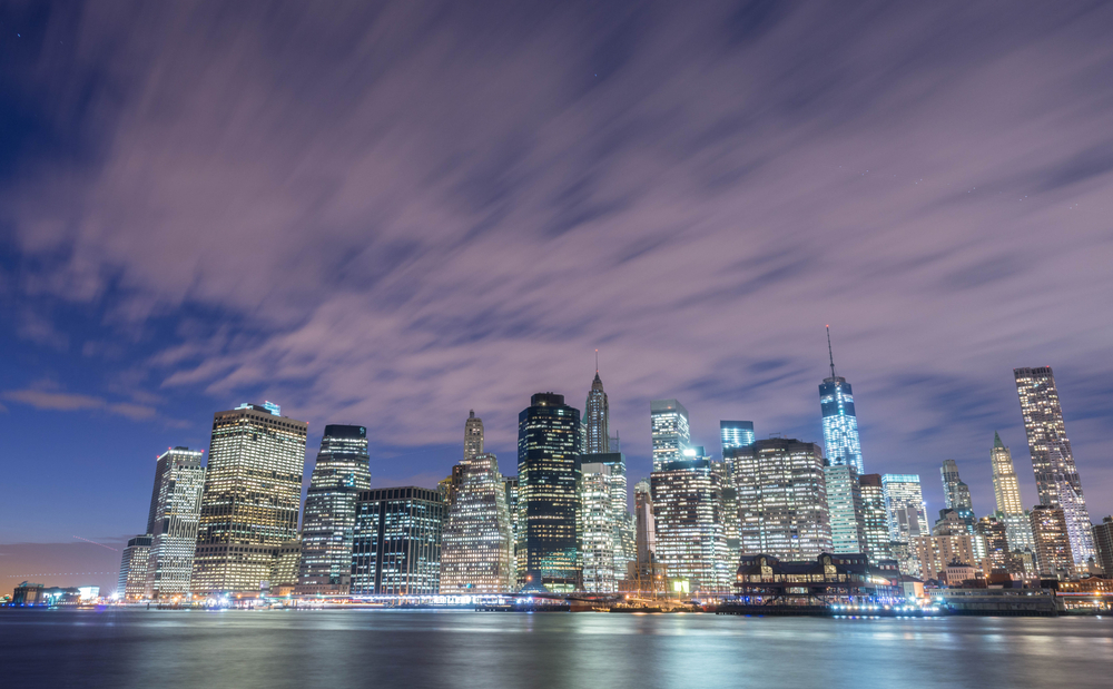 skyline of lower Manhattan in New York
