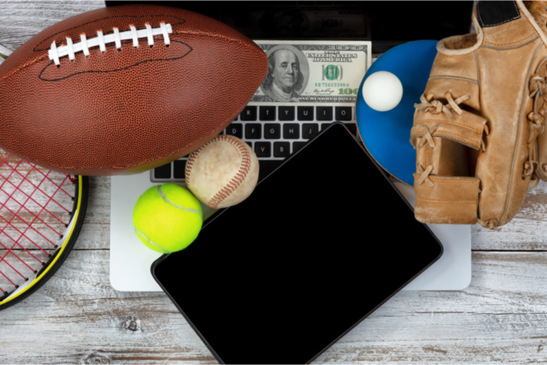 sports equipment on a laptop
