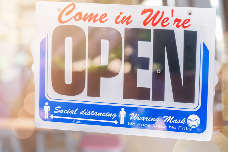 """""""Come In We're Open"""" window sign"""