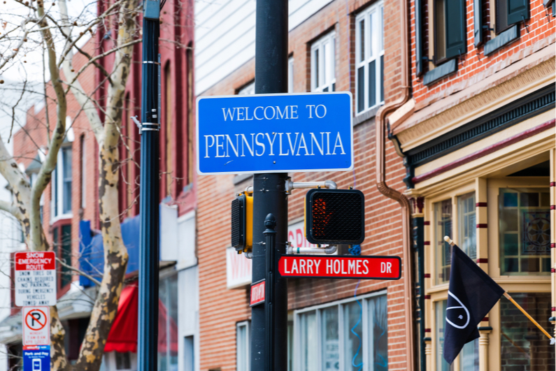 Welcome to Pennsylvania street sign