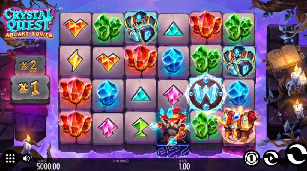Crystal Quest: Arcane Tower slot reels by Thunderkick
