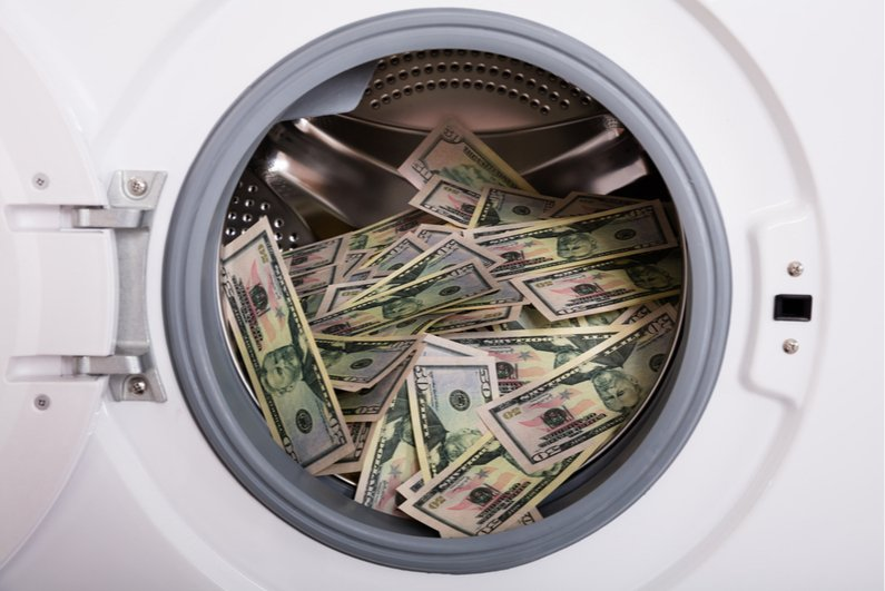 Cash in a washing machine