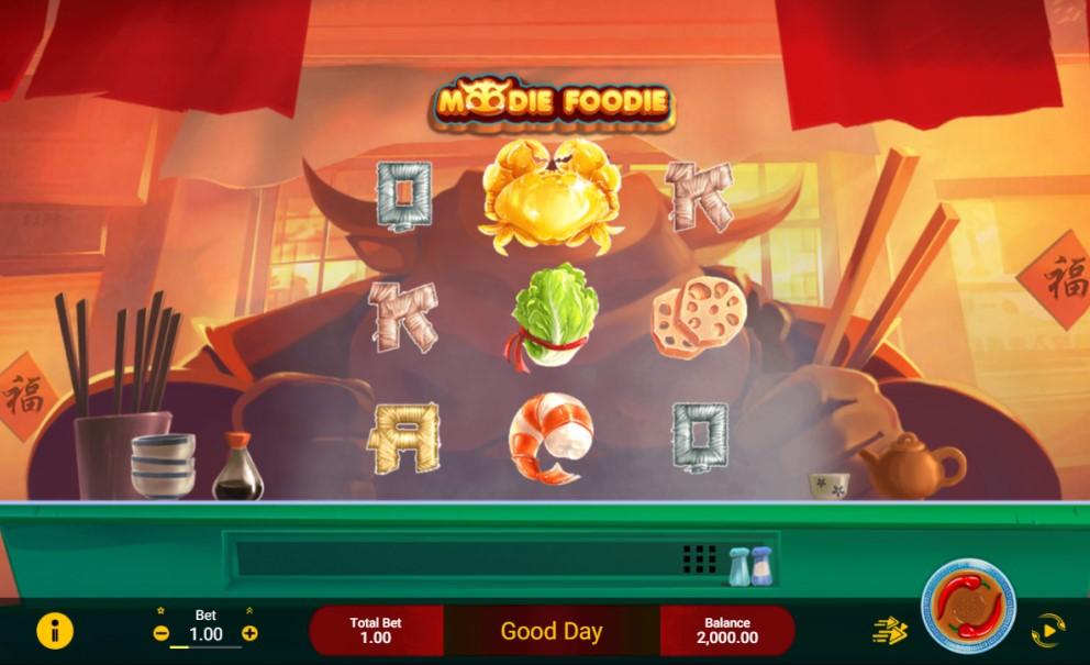 Moodie Foodie slot reels by Spadegaming