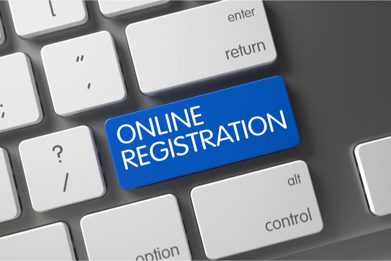 """Computer keyboard with a shift key changed to """"Online Registration"""""""