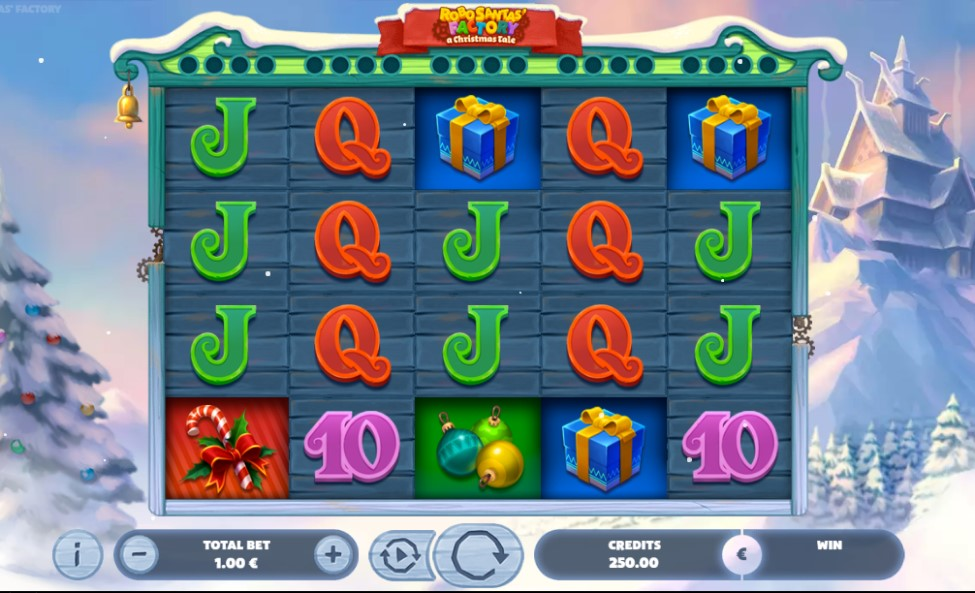 Robo Santa's Factory A Christmas Tale slot reels by Gaming1