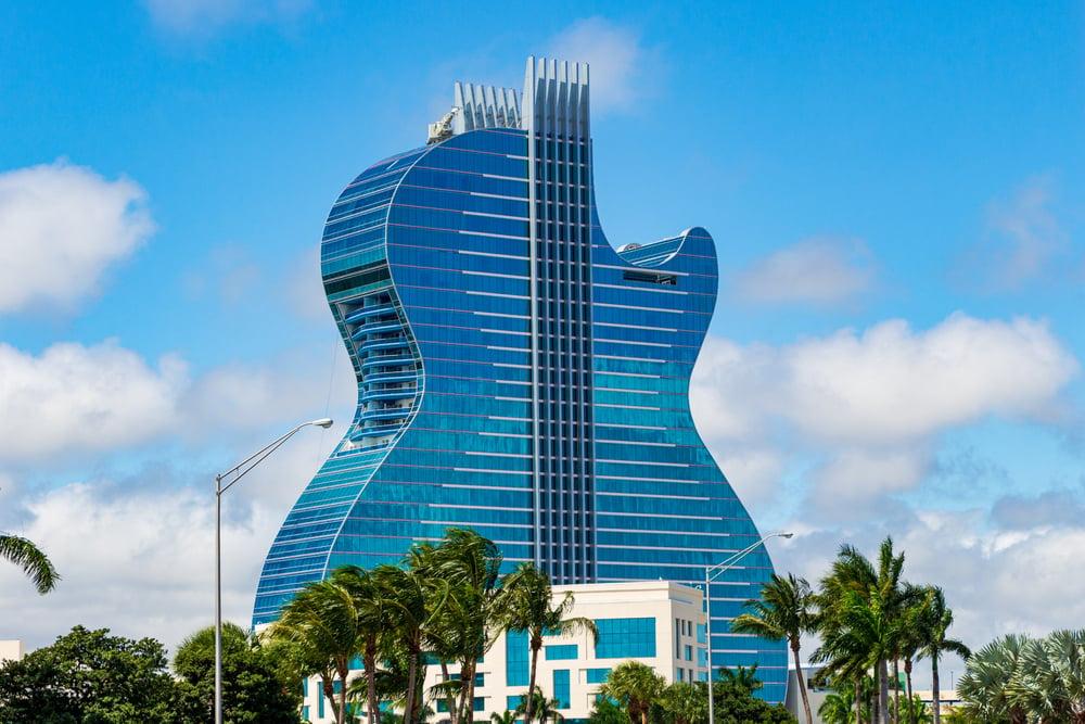guitar-shaped Hard Rock hotel in Hollywood, Florida