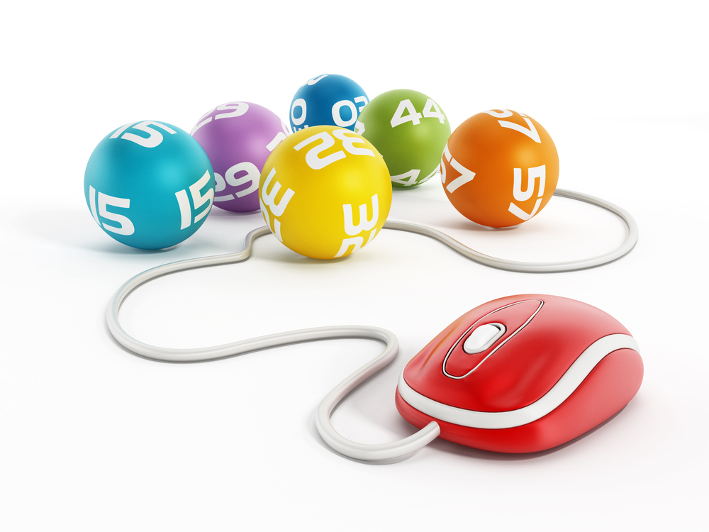 computer mouse connected to lottery balls